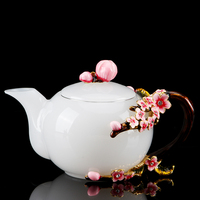 White Jade Porcelain Enamel Color Teapot lily Tea Set Household Small Single Pot Heat Resistant Glass Kung Fu Tea Kettle Pot