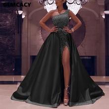 Женское блестящее платье макси на одно плечо, Сексуальные клубные вечерние платья с высоким разрезом, вечернее длинное платье Vestidos