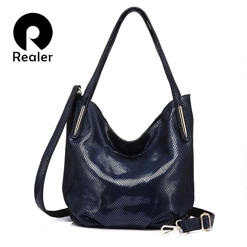 REALER Brand Fashion Women Genuine Leather Shoulder Bag Female Serpentine Print Handbag High Quality Zipper Crossbody Bag 2019