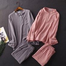 Womens algodão água lavado textura crepe gaze calças de manga comprida pijamas terno doméstico plus size conjunto de roupas para grávidas