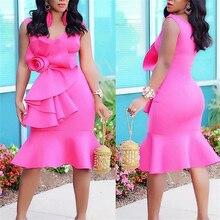 Женские платья для мероприятий, стильные праздничные тонкие розовые платья с большим цветком и оборками, сексуальные женские вечерние платья