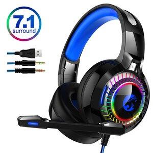 Image 1 - 7,1 Sound PS4 Gaming Headset casque Wired PC Stereo Kopfhörer Kopfhörer mit Mikrofon für Neue Xbox/Laptop Tablet Gamer