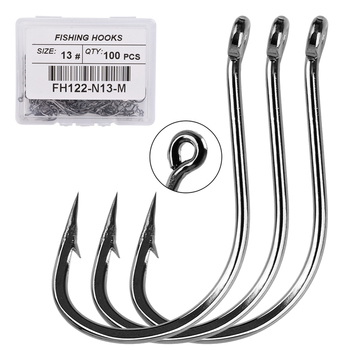 50pcs Barbed Fishing Hooks Circle Carbon Steel