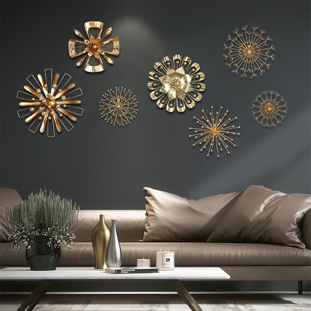 Metal Art 3d Wall Sticker Home Decoration Gold Metal Flowers Art Wall Hanging for Bedroom Living Room Kitchen