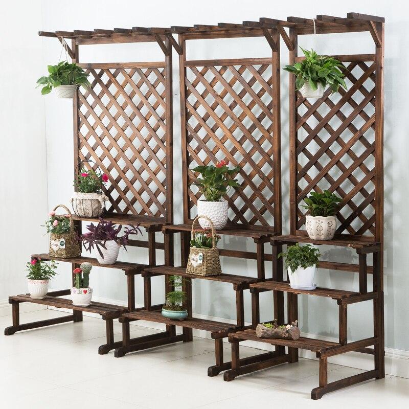 Rack Anticorrosive Wood Multi-storey Ladder Landing Type Flower Airs Indoor Solid Wood Chlorophytum Grid Flowerpot Frame