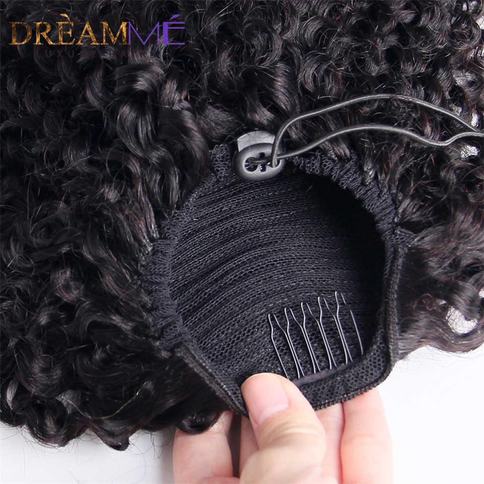 Kıvırcık insan saçı uzatma İpli at kuyruğu Afro saç doğal saç tokası Ins at kuyruğu kadın siyah Remy brezilyalı saç