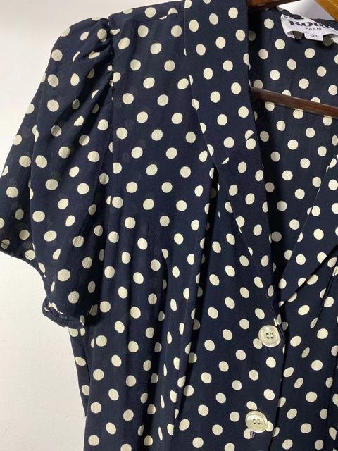 Retro Polka Dot Ladies Dress turn-down collar Single-breasted slim short sleeve women midi dress 2021 new 3