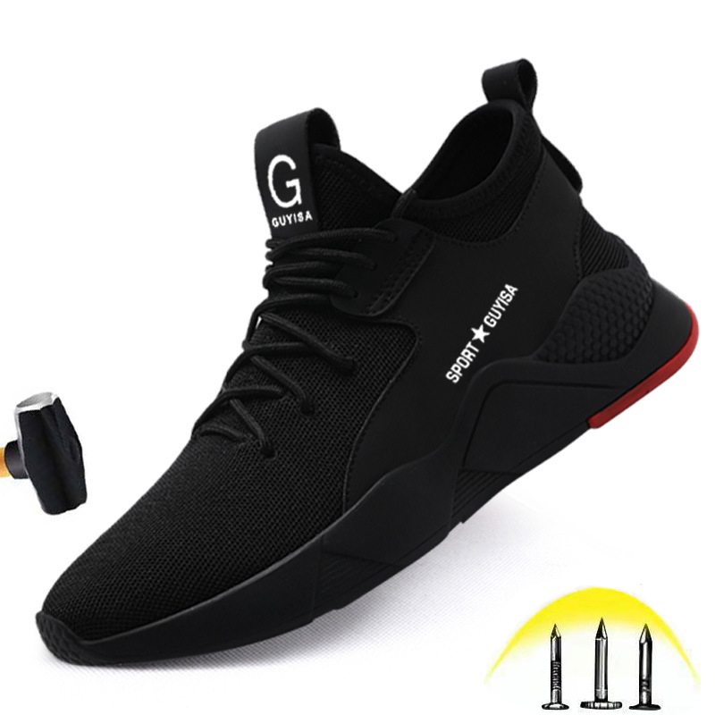 Men's Steel Toe Cap Safety Shoes Flat Casual Shockproof Soft Work Shoes XL Men's Anti-smashing Anti-piercing Construction Shoes