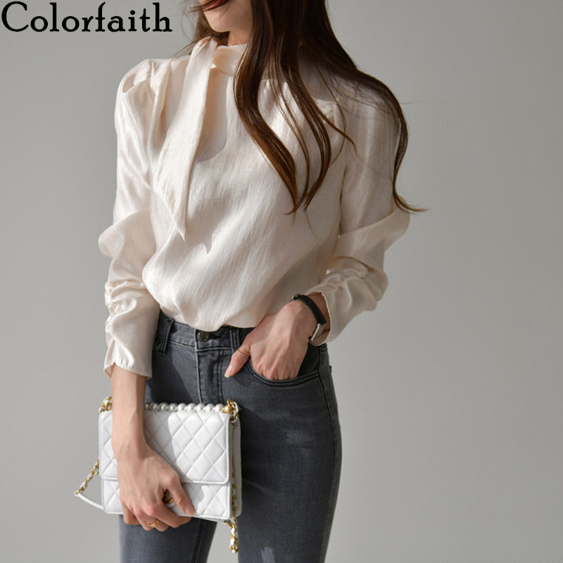 Colorfaith New 2020 Women Summer Blouses Shirts Vintage Fashionable Casual Pleated Elegant Puff Sleeve Cravat Lady Tops BL9001