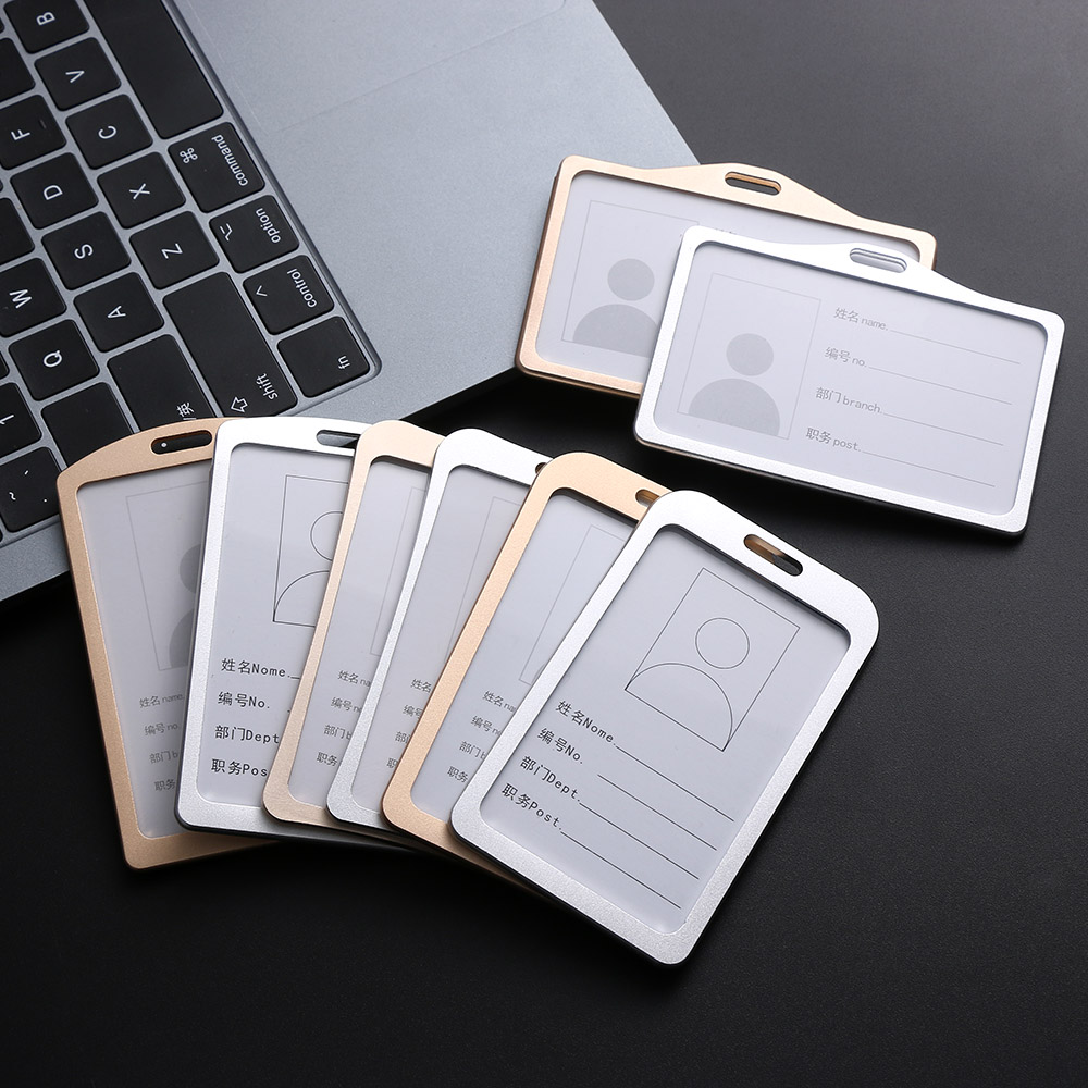 1PC Aluminum Alloy Work Name Card Holders Business Work Card ID Badge Lanyard Holder Hot Vertical Metal ID Business Case