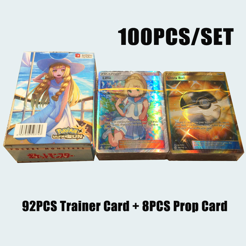 100pcs/set Pokemon All Flash Card PTCG Battle Cards Does Not Repeat 92PCS Trainer Card +8PCS Prop Card Child Toy Gift
