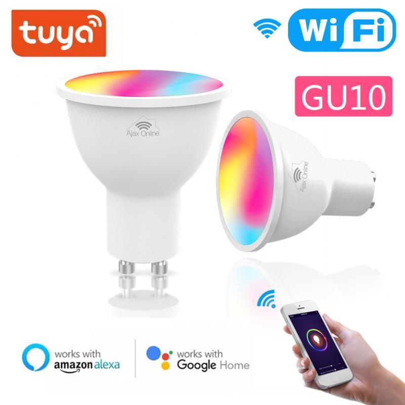 1/8 шт. GU10 умный дом Wi-Fi Светодиодная лампа RGB C + W светодиоидная лампа с регулируемой яркостью лампы удаленно с помощью Smart Life/приложение Tuya Smart ...