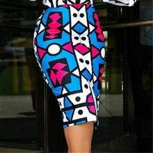 Женская облегающая юбка стрейч с геометрическим принтом, высокая талия, тонкая винтажная облегающая юбка-карандаш, Saias Jupes Falads размера плюс XXL