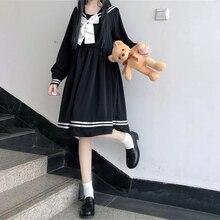 Japanese college style long-sleeved navy collar high waist sweet bow mid-length dress lolita dress women kawaii clothing loli jk
