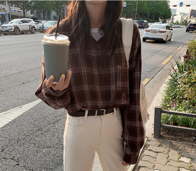 new Vintage cotton plaid Shirt female Oversize Tops Women Long sleeve Girls Blouse Plus Size Autumn Women Blouses femme Blusas