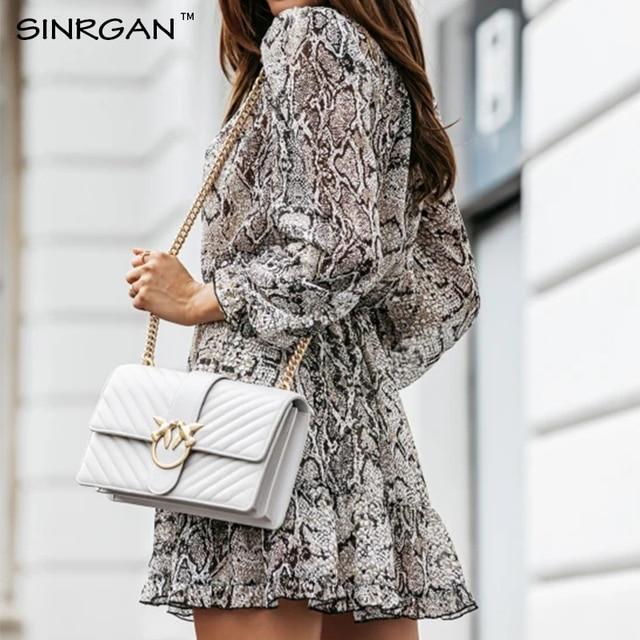 NANKEY Snake Skin Print Dress Women Animal Print Pleated Mini Dress Vintage Fashion Ruffles Dresses Vestidos Mujer 5