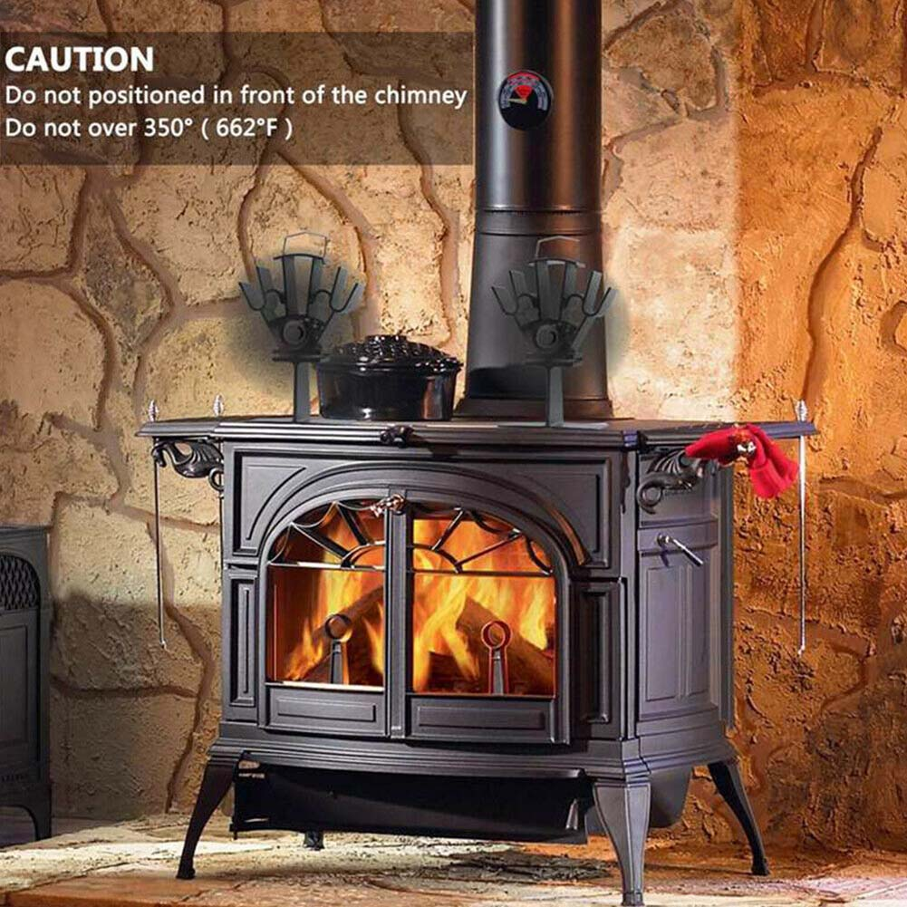 Mini Black Fireplace 4 Blade Heat Powered Stove Fan Wood Burner Eco Friendly Quiet Fan Home Efficient Heat Distribution