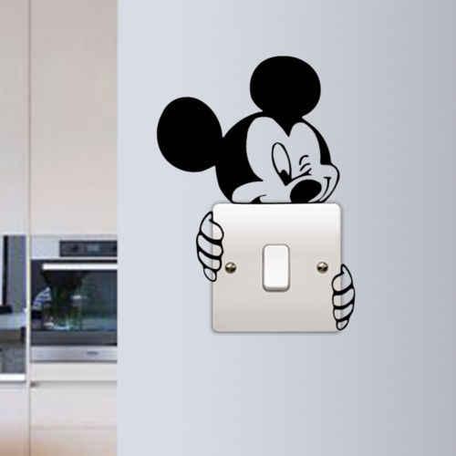Disney Cute Mickey Switch winylowa tablica naścienna śmieszne Micky Lights naklejka pod włącznik wystrój pokoju dziecięcego Mickey Switch artystyczny dom naklejki na włącznik