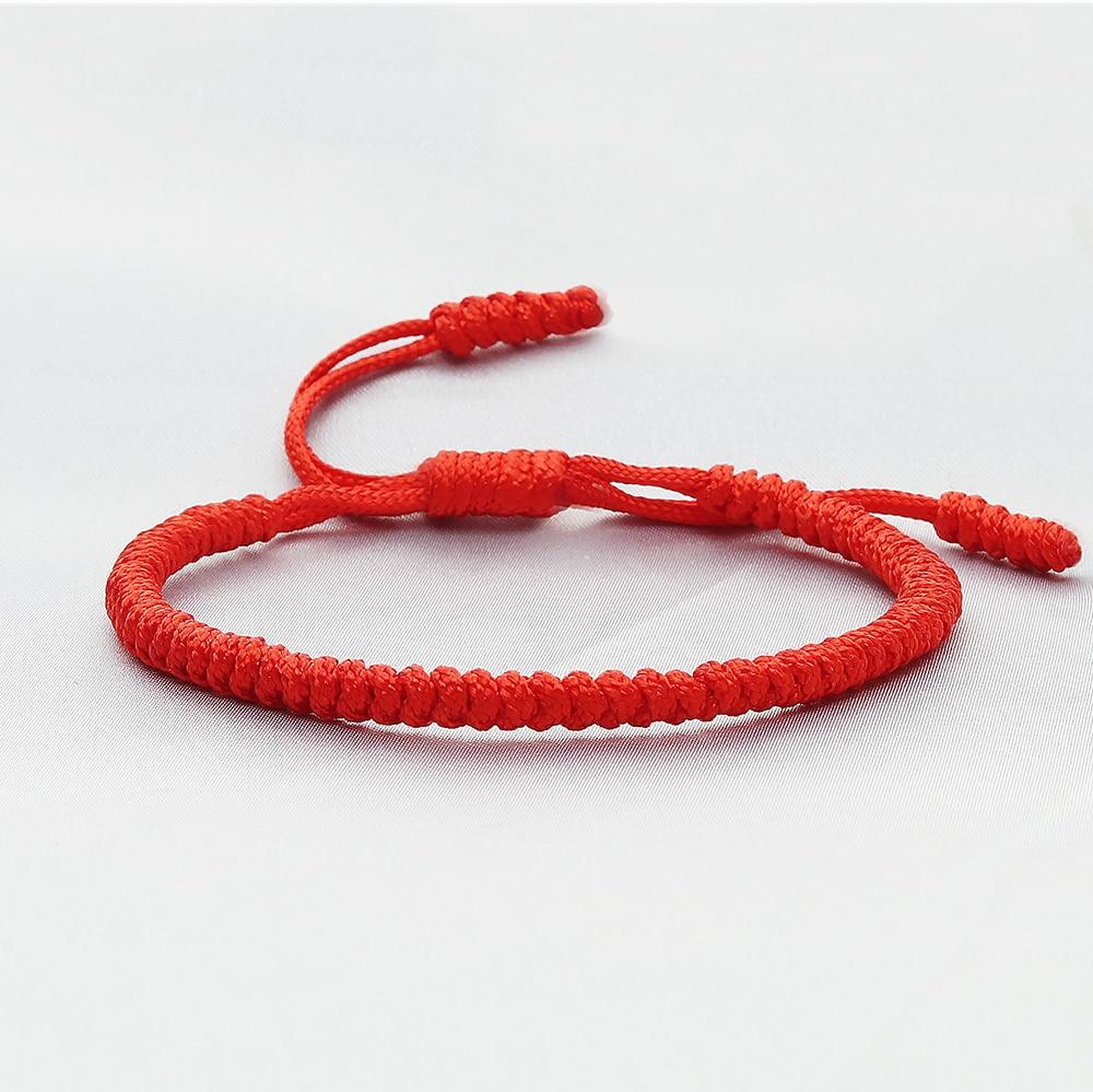 Ярко-красного цвета Капроновая нить браслет плетеные Тибетские буддийские браслеты ручной работы Плетеные веревочные узлы Браслеты молит...