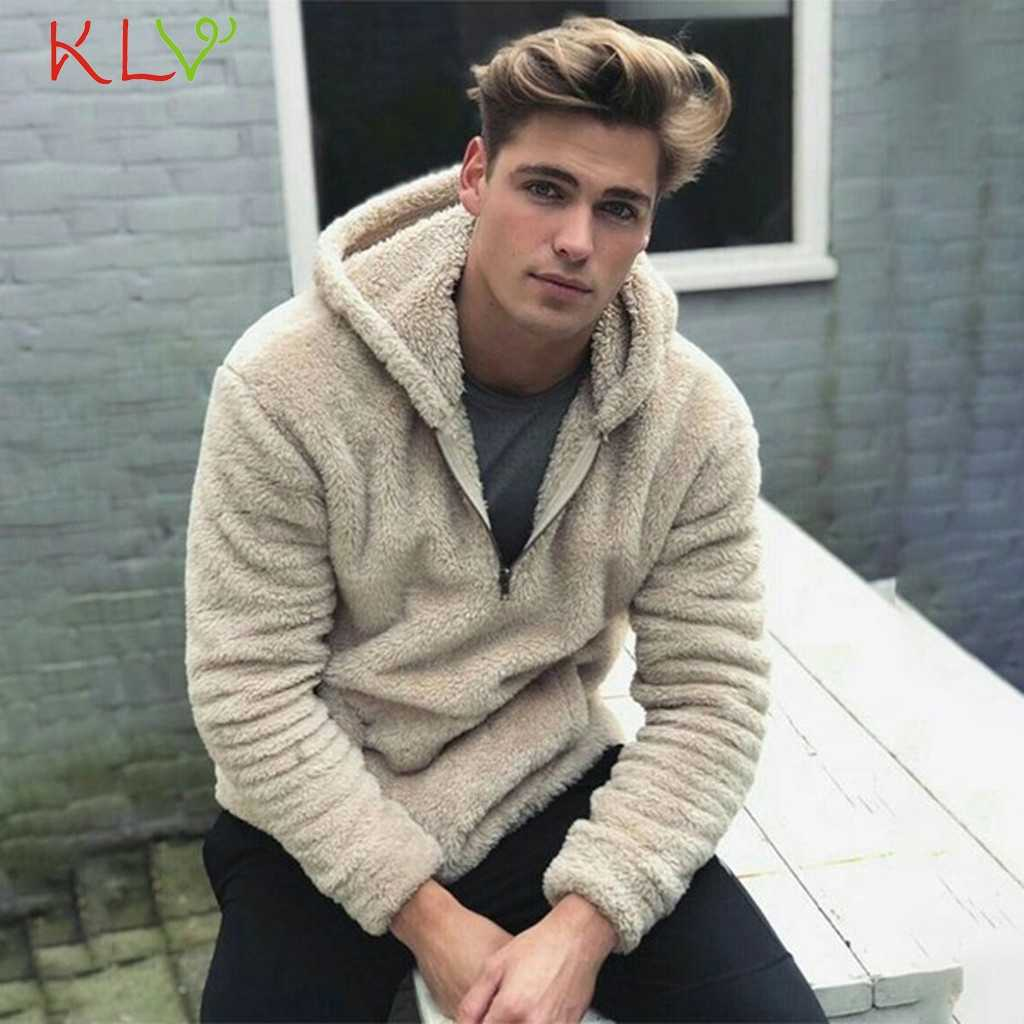 Mannen Jas Winter Hooded Fleece Pluche Rits Jassen Pocket Jas Windjack Chaqueta Hombre Plus Size Streetwear Hip Hop 19Aug