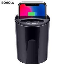 Bonola hızlı kablosuz araba şarjı bardak SamsungS10/S9/S8/Note10 10W Qi kablosuz araba şarjı bardak iPhone11Pro/XsMax/Xr/8 artı