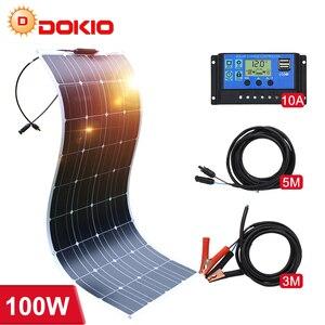 Image 1 - Dokio 12v 100ワット200ワット柔軟なソーラーパネルのための車/ボート/ホーム単結晶18vソーラーバッテリー防水ソーラーパネル中国