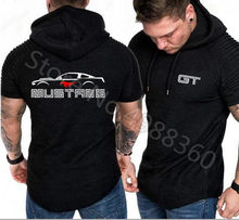 Ford Mustang printing T-shirt Motorsport sports GT Hoodies jersey training suit Hooded loose short-sleeved t-shirt Sweatshirt(China)