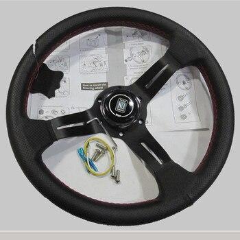 Black Spoke 330mm 13inch Genuine Leather Rally Racing Steering Wheel