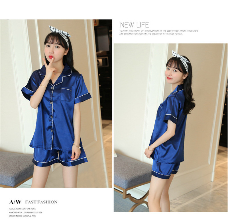 H4d36b45b70ec477c93d018996a09639bF - JULY'S SONG New Spring Summer Women Faux Silk Pajamas Set Simple Pure Color Leisure Nightwear Short Sleeves Sleepwear