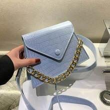 Модная женская сумка мессенджер с цепочкой из искусственной