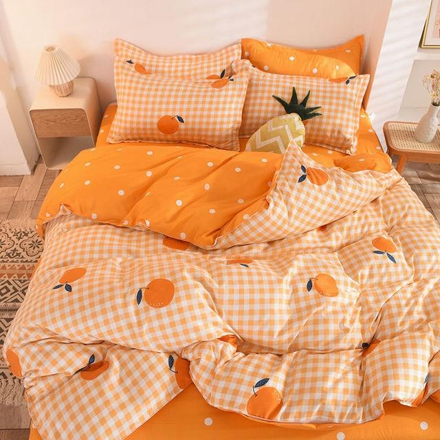 Bedding Set Chequered Oranges