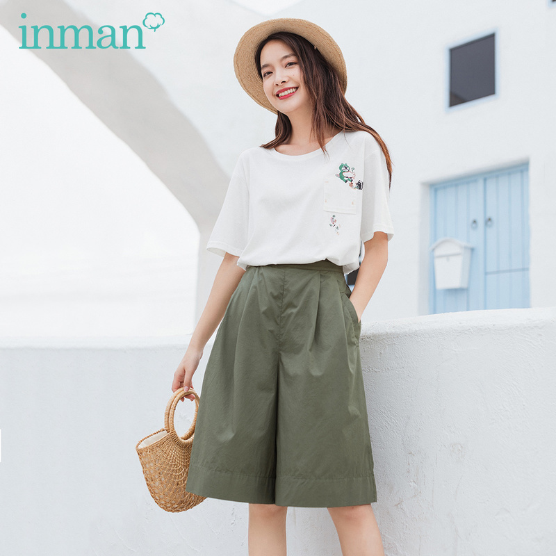 INMAN 2020 Summer New Arrival Bermuda Loose Nipped Fold Office Style Unruly Suit Pants