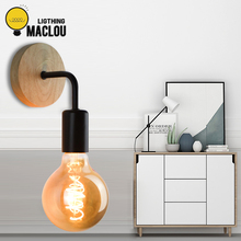 Industrial Bedside Wall Lamp Wood Wall Light Vintage Wall Bedroom Sconce Lamp Indoor Design Modern Lighting Fixtures E27 85-260V new arrive decoration wall lamp e27 country small black metal wall lamp vintage industrial wall lights edison lighting fixtures