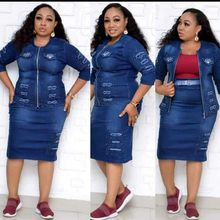 New Denim African Dresses Set For Women Dashiki 2020 Vetement Femme Ankara Plus Size Jacket And Skirt 2 Pieces African Clothing(China)