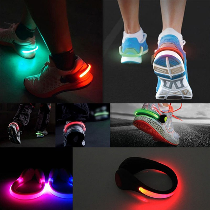 7 färger 1 st LED lysande sko klämma ljus natt säkerhetsvarning LED starkt blixtljus för att köra cykel cykel släpp frakt