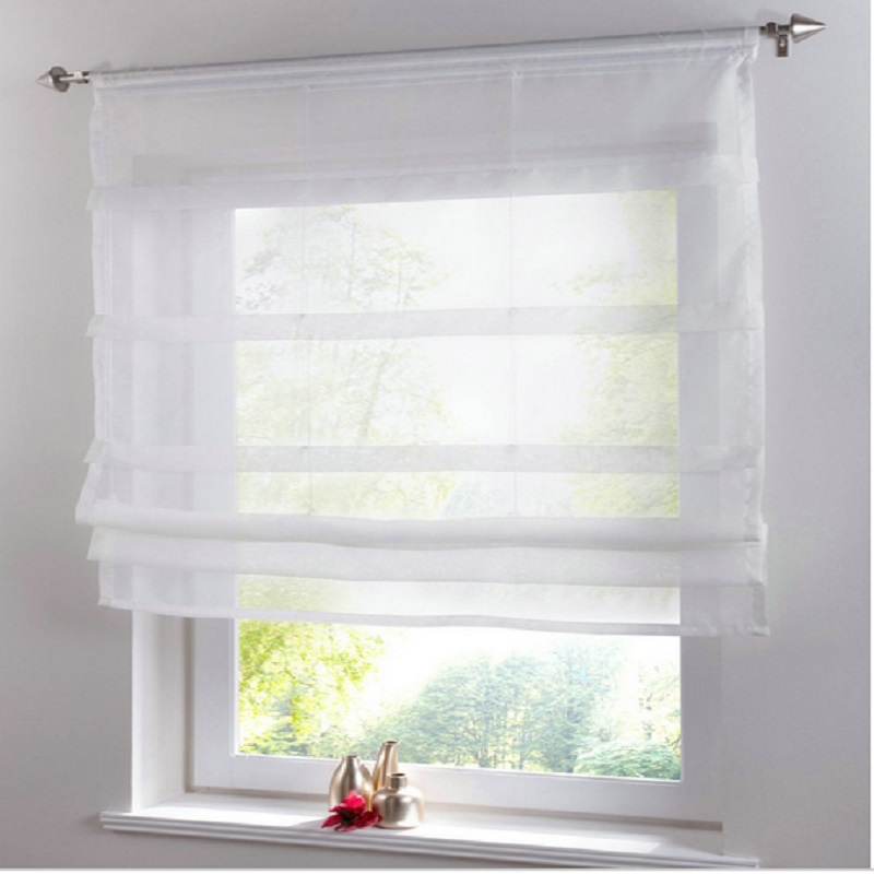 Roman Short Kitchen Tulle Curtains Window Treatment Transparent Sheer Solid Color Voile Curtain For Living Room Bedroom Cortinas
