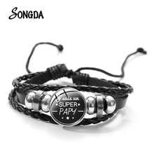 Bracelet rond en cuir avec motif de dessin animé, Super Papy, grand-père, grand-mère, manchette, bijoux, cadeau pour la famille