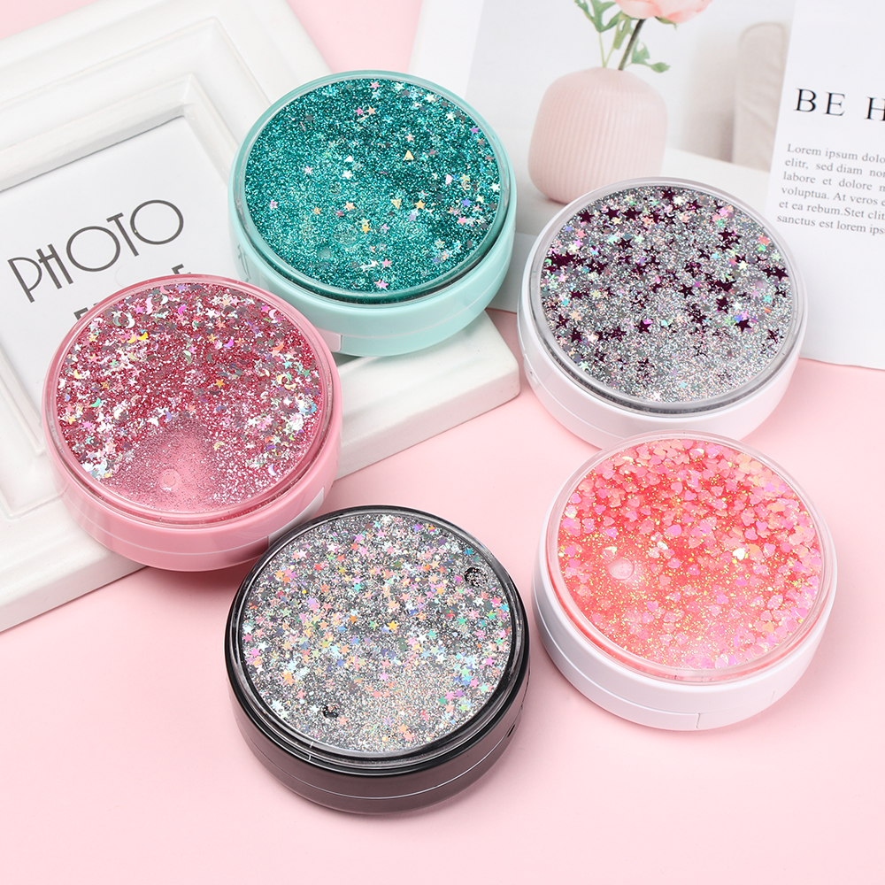 Fashion Portable Contact Lens Box Glitter Easy Carry Round Shine Eyes Care Kit Holder Contact Lens Case ABS Plastic Storage
