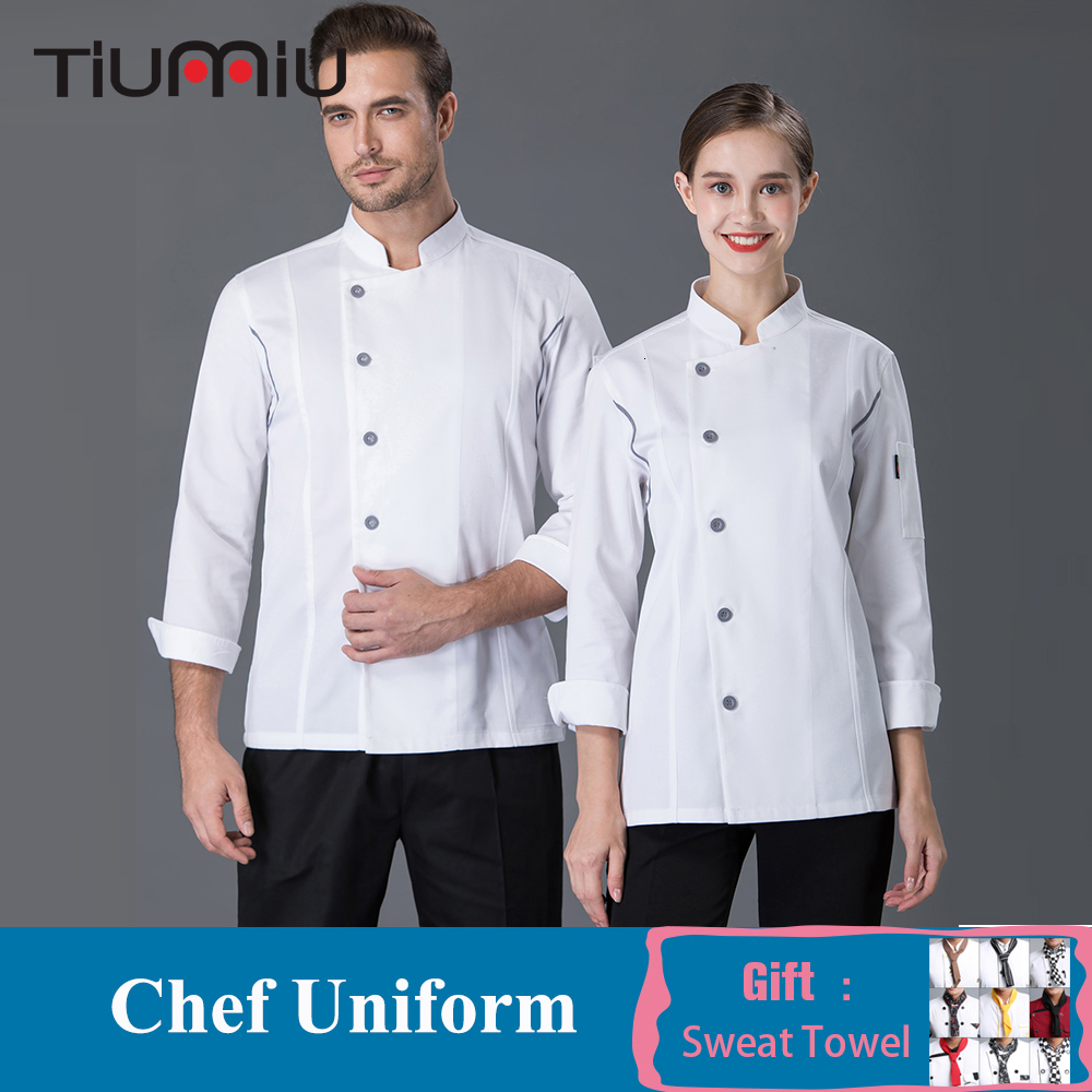 Women Men Long Sleeve Chef Jacket Restaurant Uniform Bakery Food Service Cooking Clothes Catering Hot Pot Shop Cuisine Overalls