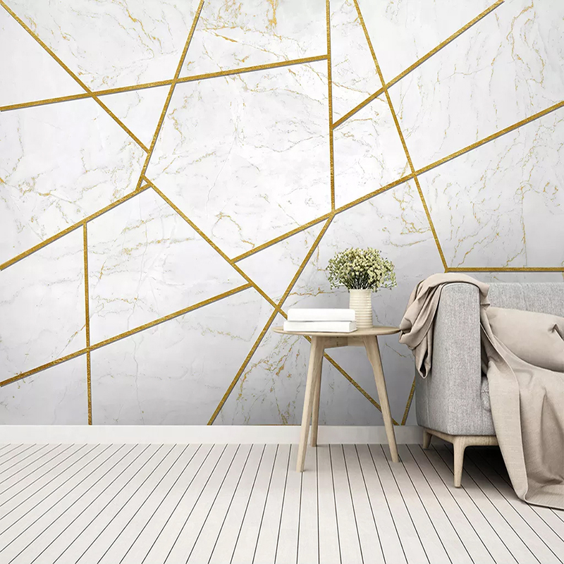 Custom Mural Creative Art Wall Paper Marble Abstract Golden Lines Modern Living Room Bedroom TV Background Decor Papier Peint 3D