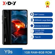 Xgody y9s 3g smartphone android 8.1 telefones celulares 1gb 8gb 3500mah 6.3 cellphone unlock telefone celular desbloquear 8mp câmera 19:9 dupla sim face id wifi