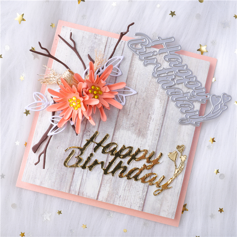 YaMinSanNiO Letter Happy Birthday Metal Cutting Dies For Card Making Scrapbooking Dies Embossing Cuts Stencil Craft 2020 Dies