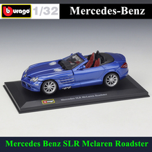 цена на Bburago 1:32 Mercedes Benz SLR Mclaren simulation alloy car model plexiglass dustproof display base package Collecting gifts