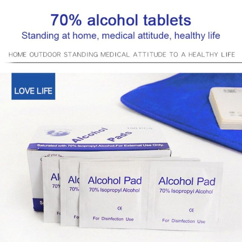 100pc/box Disposable Alcohol Disinfection Cotton Wipes Screen Disinfection Disposable Alcohol-coated Cotton Wipes