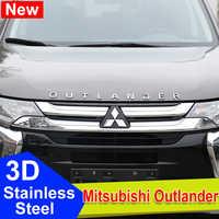 Mitsubishi Outlander Chrome Car 3D Letters Hood Emblem logo Badge sticker For Outlander Wording 3D accessories Stainless Steel
