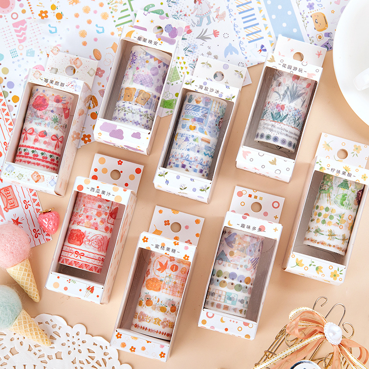 Mohamm 8 Pcs Little Sweet Series Washi Tape Kawaii Cute Girls Diary Stationary Flakes Scrapbook Decorative Sticky Tape