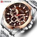 Мужские часы Топ люксовый бренд CURREN Модные повседневные мужские часы из нержавеющей стали Спортивные кварцевые наручные часы с хронографо...