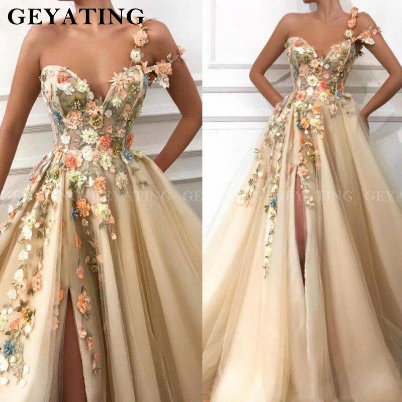 Champagne une épaule robes de bal 2019 chérie 3D fleurs Floral côté Split longues robes de soirée Vestidos de festa