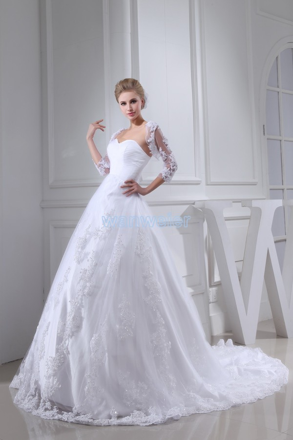 Free Shipping Arrival 2013 Hot Custom Size/color Magnificent Ball Gown Bridal Dress Small Train White With Jacket Wedding Dress