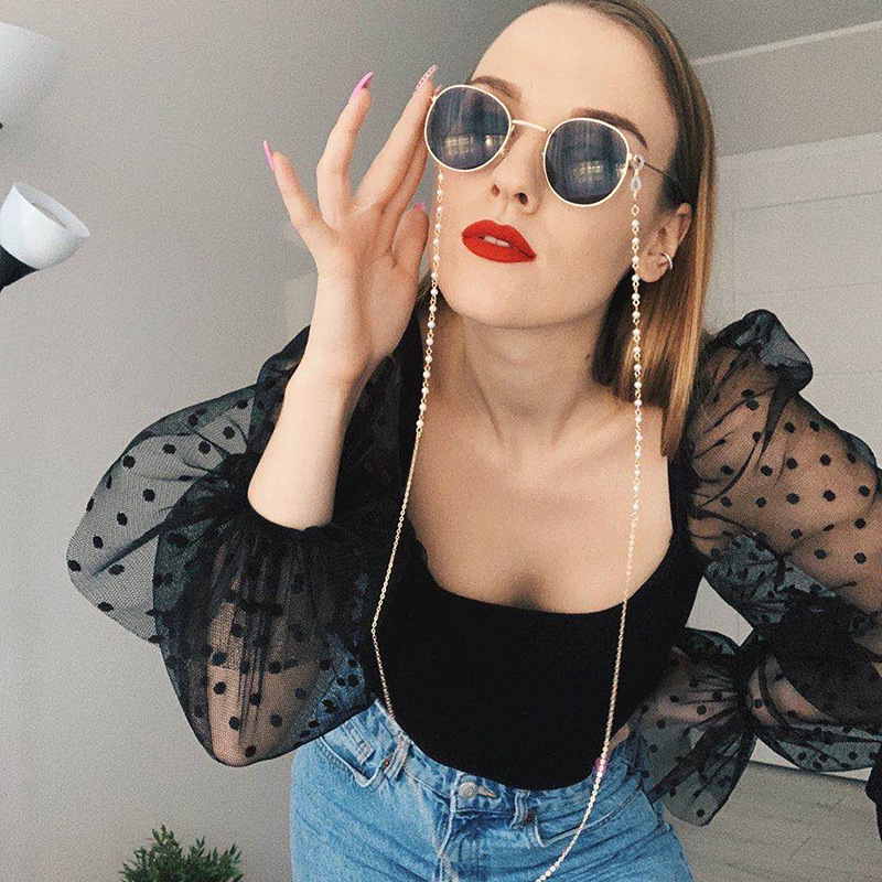 2020 Chic Fashion Reading Glasses Chain For Women Luxury Sunglasses Cords Casual Pearl Beaded Eyeglass Chain For Glasses Women